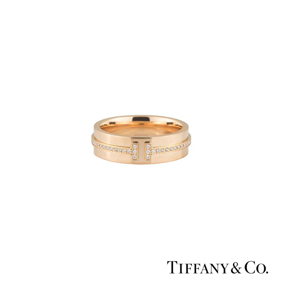 Tiffany & Co. Rose Gold Diamond T Two Ring 0.12ct E/VS